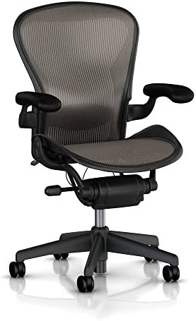 Aeron R Chair Highly Adjustable Model with Graphite Frame Classic Lead with Lumbar Support Size B