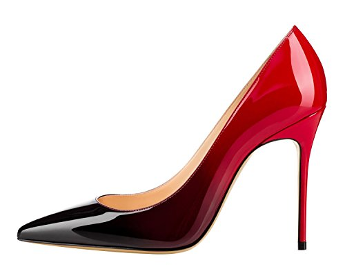 Guoar 10cm Haut Talon Pointu Toe Dégradé Stiletto Pompes Femmes Chaussures Noir Et Rouge