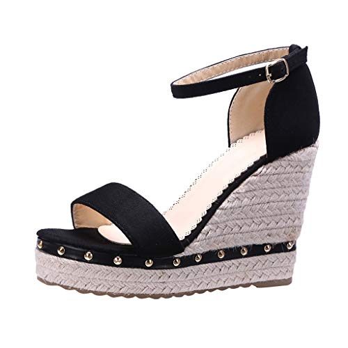WFeieig Womens Roman Sandals Ankle Strap Buckle Mid Wedge Platform Heeled Sandals Fashion Open Toe Wedges Platform Black