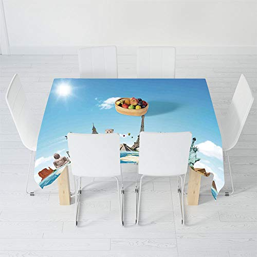 Printed Tablecloth,Travel,for Rectangle Table Kitchen Dinning Party,84 X 60 Inch,Famous Monuments of Pisa Taj Mahal ()