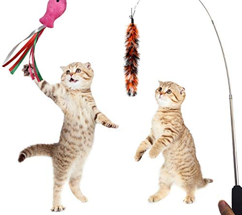 PETOY Cat Toys Set, Cat Retractable Teaser Wand, Catnip Fish, Interactive Cat Feather Toy, Mylar Crincle Balls, Two Cotton Mice, Two Fluffy Mouse 6