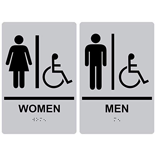 (Women Men Restroom Sign Set, ADA-Compliant Braille and Raised Letters, 9x6 in. Black on Silver Acrylic with Mounting Strips by ComplianceSigns)