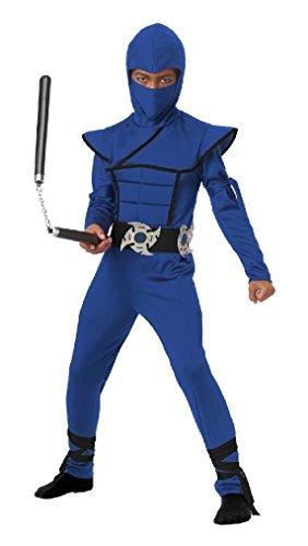 [Fancy Japanese Samuri Stealth Ninja Boys Child Costume (Blue)] (Child Blue Stealth Ninja Costumes)
