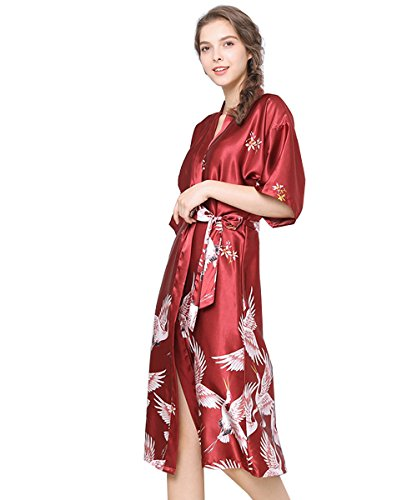 Lidiabeauty Women's Luxury Sexy Silk Satin Floral Robes Tea Length Soft Nightgown Lighweight Bathrobes Pajamas Burgundy Size - Nightgown Length Tea