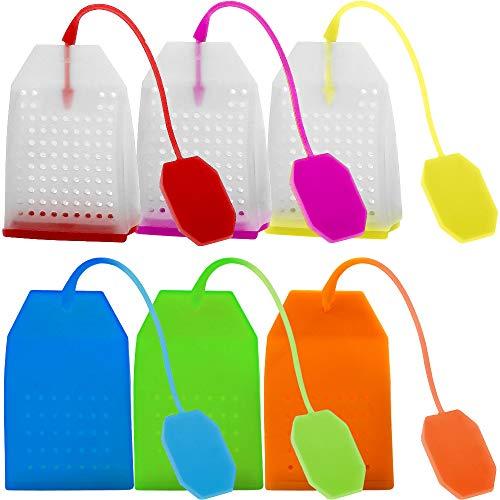 6 infusores de te de silicona FineGood, reutilizables, seguros, bolsas de te sueltas, filtro colador con cuerda larga, 6 colores