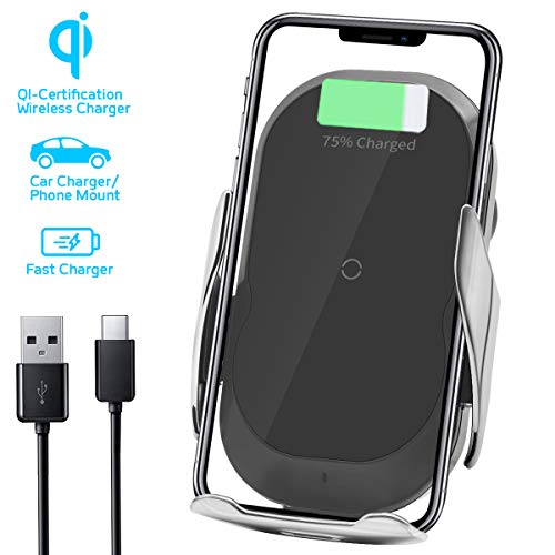 Qi Wireless Car Charger Mount Air Vent Phone Holder Cradle Automatic Clamping Compatible with All Qi-Certified Smartphones 10W/7.5W for IPhone XS Max/XS/XR/X/8/8+, Samsung Galaxy Note S8/S9/S10+ Black