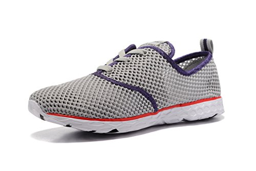 Kenswalk Women's Aqua Water Shoes Lightweight Swim Pool Slip On Walking Shoes(US 9.5, Grey 2017)