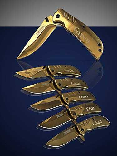 Eternity Engraving 7 Engraved Pocket Knifes, 7 Folding Pocket Knives Gift Set Personalized for Men and Women, Customized Knife Gift (Gold) by Eternity Engraving (Image #4)