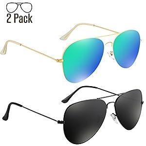 Livhò G 2 Pack of Sunglasses for Men Women Aviator Polarized Metal Mirror UV 400 Lens Protection