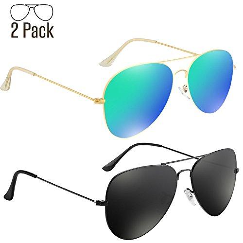 e2afa38592 Livhò Sunglasses for Men Women Aviator Polarized Metal Mirror UV ...