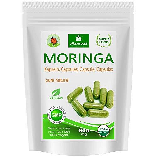 Moringa capsulas 600mg o Moringa Energia Tabs 950mg - Oleifera, vegetariano, Producto de calidad de MoriVeda (120 capsulas)