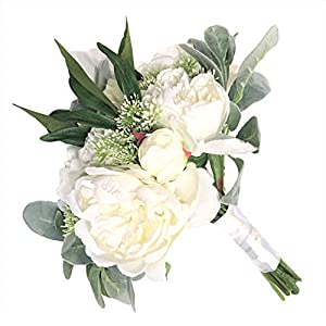 White Peony & Lamb's Ear Stem Bridal Bouquet Elegant Lifelike Classic Vintage Regal 8