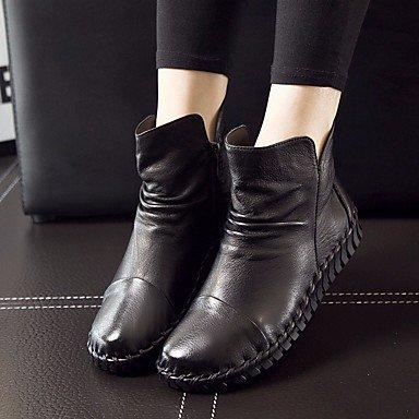La mujer Confort Botas de cuero pu Primavera confort informal marrón burdeos gris plana negra Black