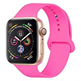 YANCH Compatible with for Apple Watch Band 38mm 40mm, Soft Silicone Sport Band Replacement Wrist Strap Compatible with for iWatch Nike+,Sport,Edition,S/M,Barpink