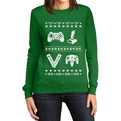 Videogame Videogame Videogame Sweater Donna Ugly Ugly Ugly Ugly da Vintage Verde da Shirtgeil Felpa Joystick w4tHwO
