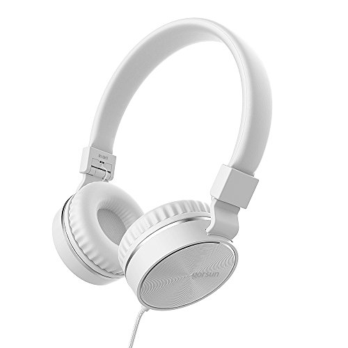 Headphones, GORSUN Microphone Volume Control Folding Lightweight Headset Cellphones Tablets Smartphones Laptop Computer PC Mp3/4 (White)