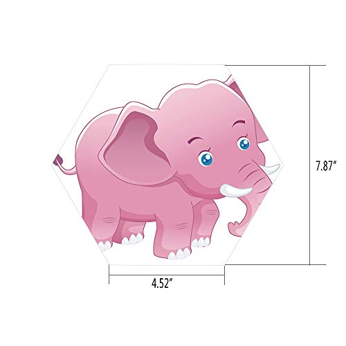 iPrint Hexagon Wall Sticker,Mural Decal,Elephant Nursery Decor,Comic Safari Animals Toddler with Tusks Mammal Savannah Zoo Cartoon,Pink White,for Home Decor 4.52x7.87 10 Pcs/Set -