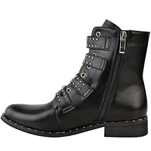 Thirsty Heel Fashion Buckle Ankle Punk Faux Low Strapy Studded Black Flat Biker Size Womens Goth Leather Boots fH44q