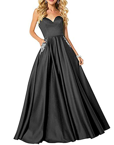Scarisee Women's A-line/Princess Sweetheart Beaded Prom Evening Dresses with Pockets Formal Bridesmaid Party Gowns Black -