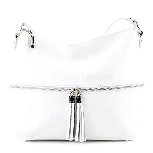Leather bag bag T159 de White Leather bag Leather ital modamoda Shoulder qfTHxBa