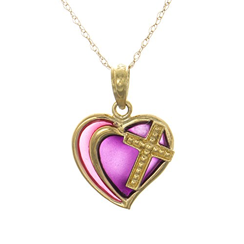 14k Yellow Gold Religious Pendant with 18 Inch Chain, Purple Stained Glass Enamel Double Heart W Cross -