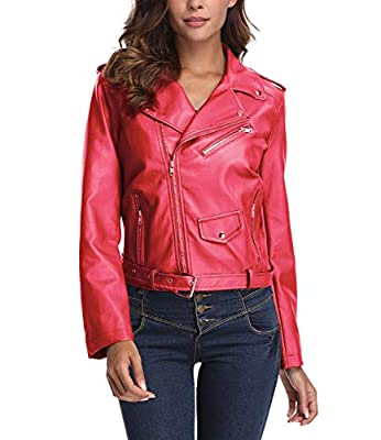 Chenghe Women's Faux Leather Motorcycle Zip up Short Bomber Jacket