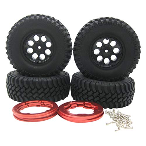 (NOMENI 4PCS Air Filled Inflatable Tire Wheel 1.9 Inch for 1/10 Crawler SCX10 TRX4)