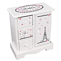 MyBambino Personalized Girls Jewelry Armoire Chest Paris France Box w Drawers Necklace Holder