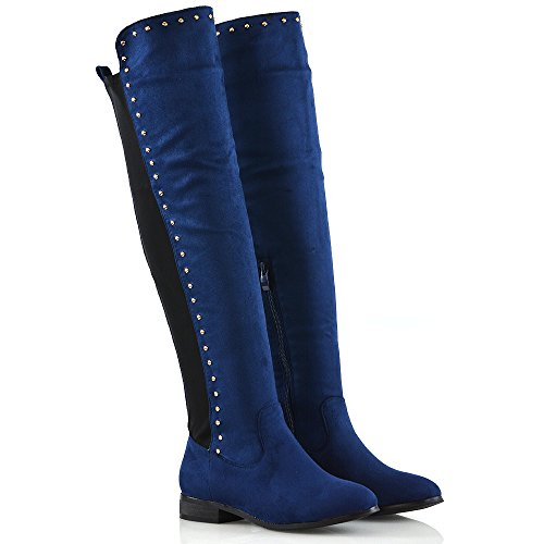 Flat Gold Ladies Faux Navy Suede Calf Boots Casual Stretchy Knee ESSEX Stud Womens Size The GLAM Trim Over fwxP7q4X