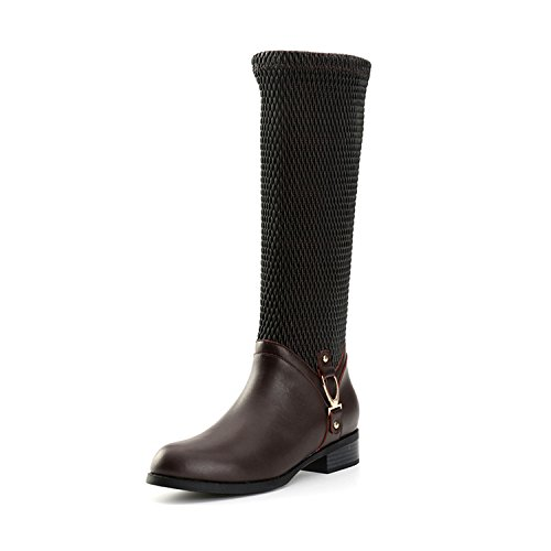 Alexis Leroy Women's Solid Heeled Multifunctional Long Shaft Boots Brown