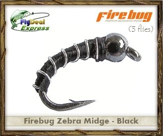 Fly Fishing Flies - FIREBUG BLACK - Zebra Midge (3-pack)