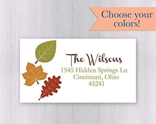 40ct - Autumn Address Labels, Fall Address Labels, Leaf Return Address Stickers (#022-2-L-WH) ()