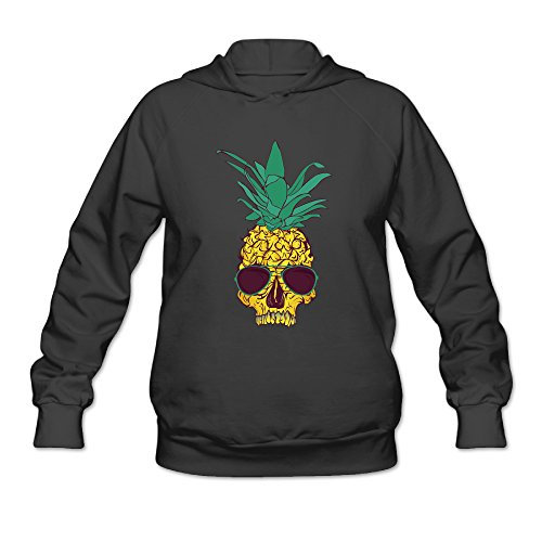 Cool Pineapple Skull With Sunglass Women's Hooded - Sunglasses Grove The