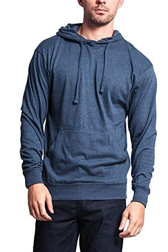 G-Style USA Men's Cross-Dyed Heather Jersey Lightweight Pullover Hoodie Sweatshirt MH13104 - Denim Caviar - Large (Mens Tek Gear Space Dyed Dry Tek Hoodie)