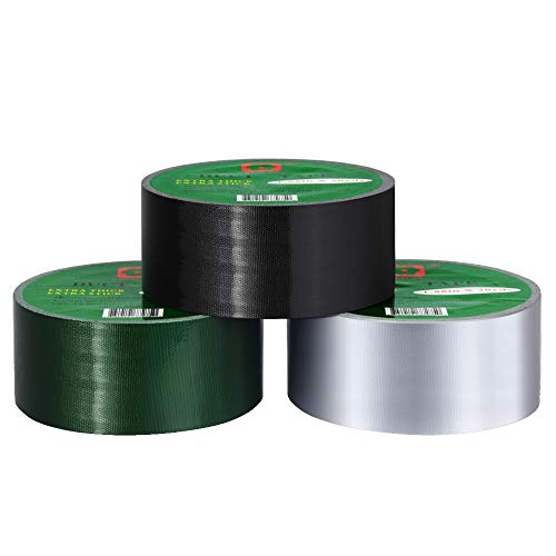 Duct Tape Multi Pack Color Duct Tape Strong Tape 9.9mil Extra Thickness,1.88 in x 20 Yds, Pack of 3, Silver,Black,Green ()