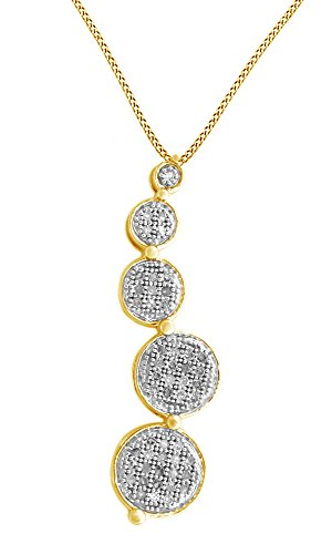 Jewel Zone US White Natural Diamond Accent Journey Chain Pendant Necklace in925 Sterling Silver (0.15 Cttw)