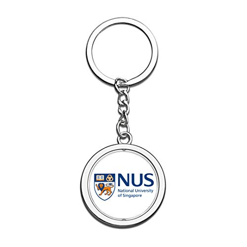 National University of Singapore NUS Badge Keychain 3D Crystal Creative Spinning Round Stainless Steel Keychain Travel Souvenir Collection Key Chain -