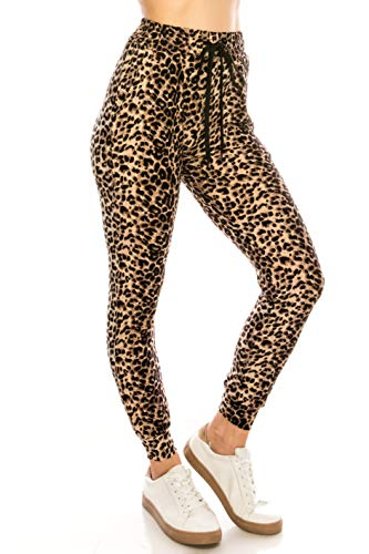 - ALWAYS Women Drawstrings Jogger Sweatpants - Super Light Skinny Fit Premium Soft Stretch Leopard Animal Print Pockets Pants L/XL