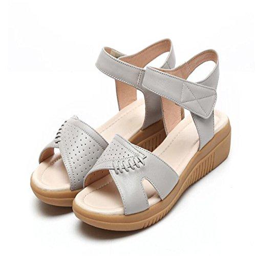 Sandalias Planas De Verano Femenina Planas Con Zapatos De Mujer Mujeres Liangpi Gris
