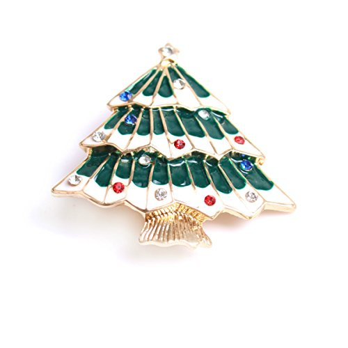 Hollycraft Jewelry Costumes (VK Accessories Christmas Tree Brooch Pin for Winter Theme Parties(Red and Green))