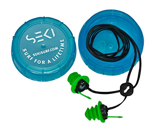 (Waterproof Super Soft Silicone Ear Plugs For Surf, Surfing, Swimming By SEKI - Block Out Water, Allow Hearing, with Corded Earplugs For Surfer, Swimmer, Adults, Diving Hearing Protection)