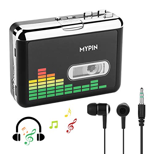 USB Cassette to MP3 Converter, Portable Cassette Audio Music Player Tape-to-MP3 Converter and Cassette Recorder with Earphones, No PC Compatible