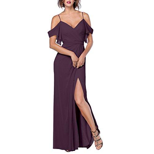 - Beauty Bridal Women's Off The Shoulder Side Slit Long Chiffon Bridesmaid Dress Evening Gown L0391 (4,Plum)