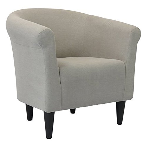 Upholstered Armchair - Accent Barrel Back Chair - Arm Chair for Living Room or Reception - Microfiber Upholstered - Club Seat (Taupe)