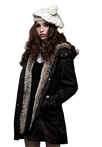 Con Modern Cappuccio Cintura Addensare Lunga Cappotti Manica Tasche Pelle Di Schwarz Inclusa Mantello Giovane Giacca Button Anteriori Donna Stile Colori Invernali Solidi THwgxaB