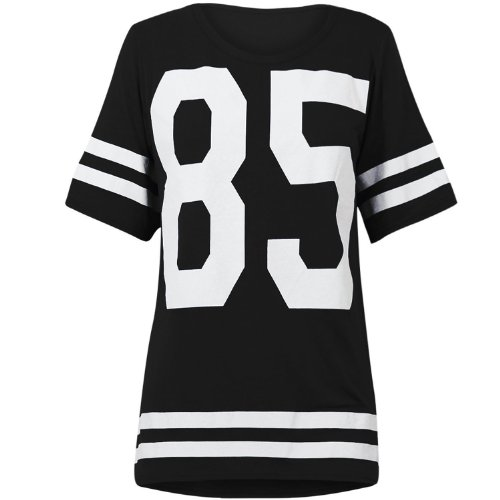 Genluna Women's Football Jersey T Shirt Top Loose Dress [B6619],Black,XX-Large