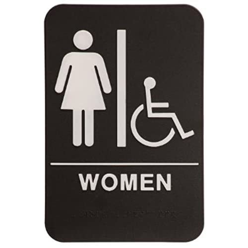women restroom sign blackwhite ada compliant 1 - Womens Bathroom