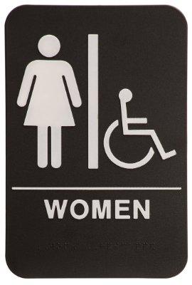 Women restroom sign black white ada compliant 1 for Women s bathroom sign