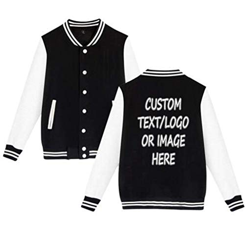 Unisex Custom Varsity Jacket Personalized Baseball Jacket Uniform Sweater Coat Black]()