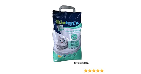 Biokats Arena perfumada lecho Gatos 5Kg Bianco Fresh Hygiene ...